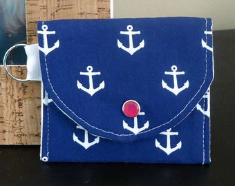 Cotton Coin Purse with Anchors on Navy Blue, Perfect for summer, id Wallet, Preppy and Nautical Keychain Wallet