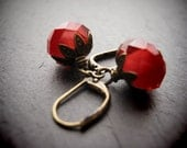 WILD STRAWBERRY earrings delicate glass and brass drop