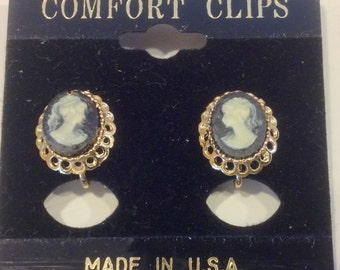 Vintage raised cameo woman with ponytail profile oval with silver tone  fashion comfort clips