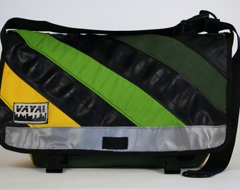 Messenger bag in yellow, green and recycled bike tubes