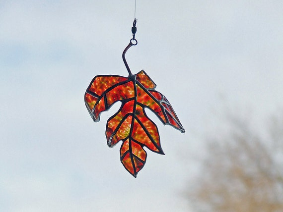 Stained Glass Leaf, Painted Maple Leaf from Newcastle Ale - Eco Friendly Gift