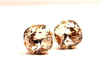 Peach Silk Crystal Stud Earrings Classic Sparkling Golden Metallic Cushion Pillow Cut Solitaire Swarovski 12mm Sterling Silver Post & Copper