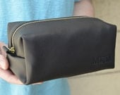 Black Leather Toiletry Case With Optional Interior Message Valentine Gift
