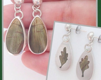 Picasso Jasper Earrings - Handmade Sterling Silver Green and Yellow Stone Earrings - Leaf Cutout on Reverse