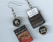 Book Cover Typewriter Earrings - To Kill a Mockingbird - mismatched asymmetrical - quote - literary book club gift