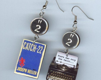 Book Cover Earrings - Catch-22 quote typewriter - banned book week - Mismatched earring design - Designs by Annette