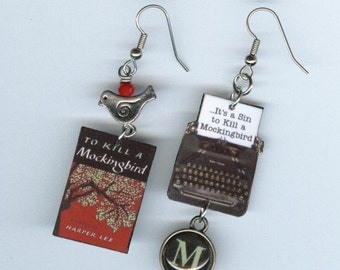 Book Earrings - To Kill a Mockingbird - Vintage  Typewriter - Harper Lee - Literary gift   asymmetrical mismatched earring