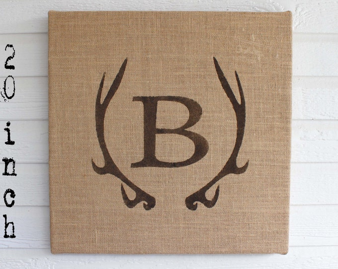 Deer Antler Monogram Burlap Covered Cork Message Board  Antler Wall Decor - Pin Board, Cork Board, Bulletin Board, Memo Board Personalized
