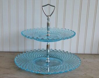 Vintage Blue Two Tier Tidbit Tray - Silk Creek Gallery