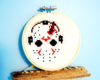 Jason Voorhees Small Cross Stitch - Unframed in Hoop