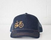 VITAL BICYCLE Denim Trucker Cap Gold Stitching