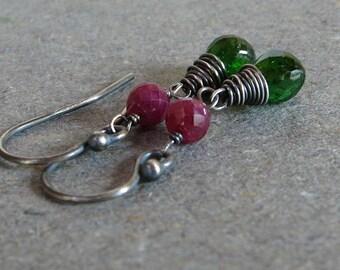 Chrome Diopside Earrings Emerald Green Earrings Red Ruby Earrings Oxidized Sterling Silver Earrings