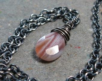 Botswana Agate Necklace Gemstone Pendant Necklace Oxidized Sterling Silver Necklace