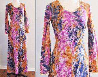 1970s Boho Maxi Dress in Tie Dye/ Splatter Paint Print Fabric