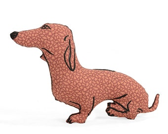 decorative pillow, dog pillow, animal pillow, dachshund dog shaped pillow softie coral graphic fabric