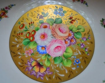 Limoges France Gold and Roses large Decorative Plate