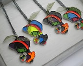 Punk Rock Holly Hobbie Zombie Pendants. 4 Hand Painted Large Plastic Charms on Black Chains, Kitschy Retro Cute Girl Necklace Lot, 1980s Era