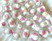 White & Pink 11mm Lampwork Beads (30)
