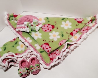 Pink and Green Ladybug Themed Baby Crochet Fleece Blanket, Hat, Bow, Lovey and Booties Set. Ready to ship