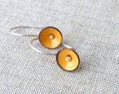 tiny poppy earrings torch fired enamel sterling silver yellow