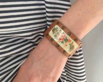 Tan Leather & George Horner Vintage Tin Cuff Bracelet