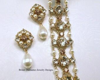 Golden Blend Rhinestone Chaton Renaissance Styled Bracelet and Earring Set, Golden Weddings, Cuff Bracelet with Post Earrings
