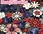 FG-FG-090SP- Nickel free, Color enameled, Sampler set of flower filigree,Patriot mix, 48 pcs
