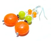 Orange Quartz Earrings, Neon Lime Green, Bright Colorful, Summer Dangles, Tangerine Quartzite Coins, Sterling Silver