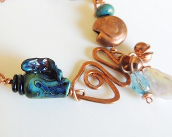 Lampwork Seashell Bracelet with Copper Handforged