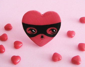 Heart Bandit Doll Face Ring