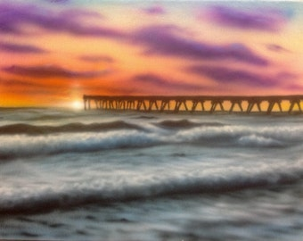 Sunset pier, Panama City Beach Florida 9x12 inches acrylic airbrush painting FREE SHIPPING