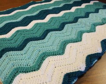 Handmade Crochet Ripple Chevron Baby Blanket Green