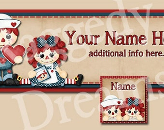 Cute Raggedy Annie & Andy Facebook Timeline Cover  - Matching Profile Photo - Cover Photo - Raggedy Dreams Designs