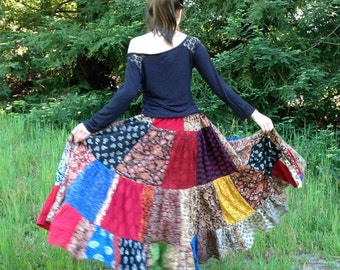 "Womens Skirt Long Patchwork Handmade Indian Fabrics 35""-41"" length for all sizes"