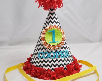 1st Birthday Party Hat Boy- Small Chevron- Personalized