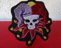 Court Jester Clown Skull Embroidered Iron On Patch