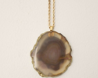 Beautiful Natural Tones Agate Geode Necklace on 10k gold chain. Geode Jewelry, Agate Jewelry, Free Shipping