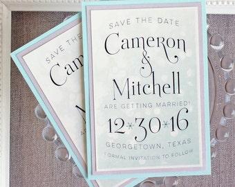 Wedding Save the Date Magnet Winter Wedding Snow Bokeh Crystal Aqua Blue Silver