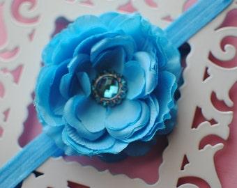 Blue Flower Infant Headband