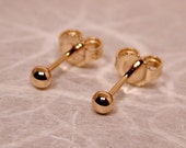 3mm 18k Ball Stud Earrings 18k Yellow Gold Ball Post Studs by Susan Sarantos