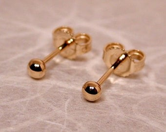 3mm 18k Yellow Gold Ball Stud Earrings Ball Post Studs by SARANTOS