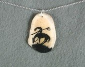 Antler Necklace End of the Trail Natural-Handmade Hand Painted