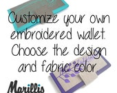 Custom Handmade Womens Wallet | Customize Your own Embroidered wallet | linen wallet | wallet for women | Gifts for women