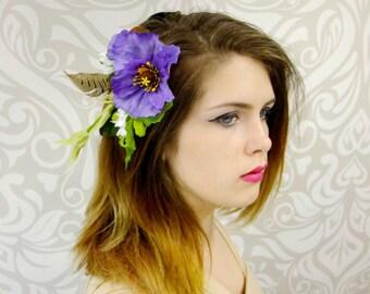 Purple Bohemian Flower Hair Clip, Woodland Flower Fascinator, Mori-Kei, Forest Elf Hair Clip, Cosplay, Woodland, Rustic, Tribal Headpiece