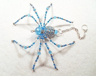 Rayne - aqua and clear glass beaded spider goth sun catcher - Halloween decoration - Christmas ornament