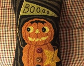 Primitive Needle Punch PATTERN Fall Pumpkin-Boo Pennant-Star