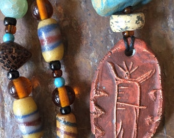 Petroglyph Fired Clay Necklace Tribal Earthy Unique