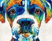 Colorful Dog Boxer Art PRINT from Painting Animal Rainbow Pets Puppies Puppy Doggie Canine Cute CANVAS Ready To Hang Large Fun Funny Doggy