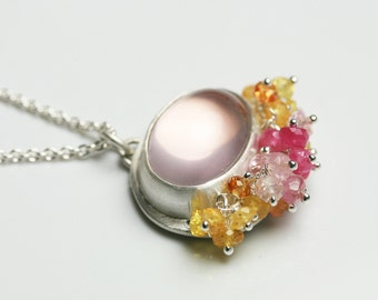 Rose Quartz Necklace with Pink and yellow Sapphire Fringe