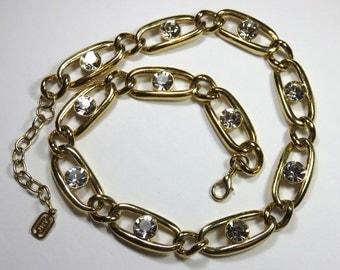 SJK Vintage -- JNY Jones New York Signed Designer Gold Tone and Crystal Rhinestone Necklace (1980's)